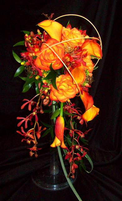 Bridal Cascade in Orange with Callas, Orchids and Roses