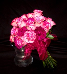 Pink Roses and Magenta Dianthus Round Bridal Bouquet
