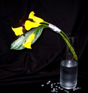 Yellow and Black Mini Callas in Hand Tied Bridal Bouquet