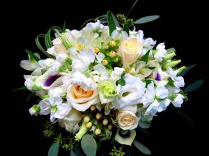 Wedding Bouquet in White - with Roses, Hypericum, and Calla Lilies