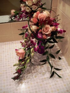 Cascade Bridal Bouquet in Blush and Purple