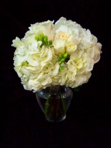 White Bouquet with Hydrangea, Roses, and Freesia