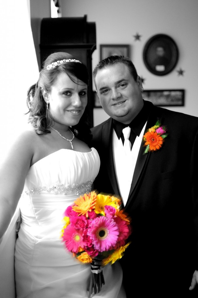 Bride and Groom with Gerbera Daisy Wedding Flowers