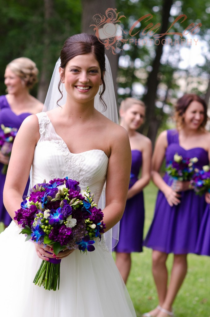 Shades of purple bridal bouquets