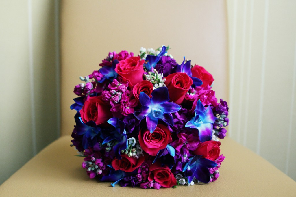 Hot Pink and Hot Blue Bridal Bouquet