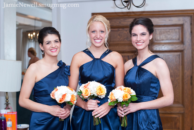 Orange and White Bridesmaids Bouquets