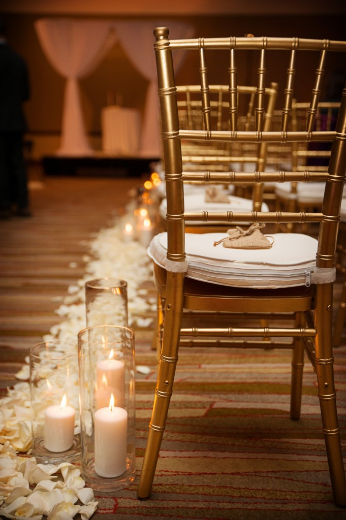 Petals and Candles Lining Aisle