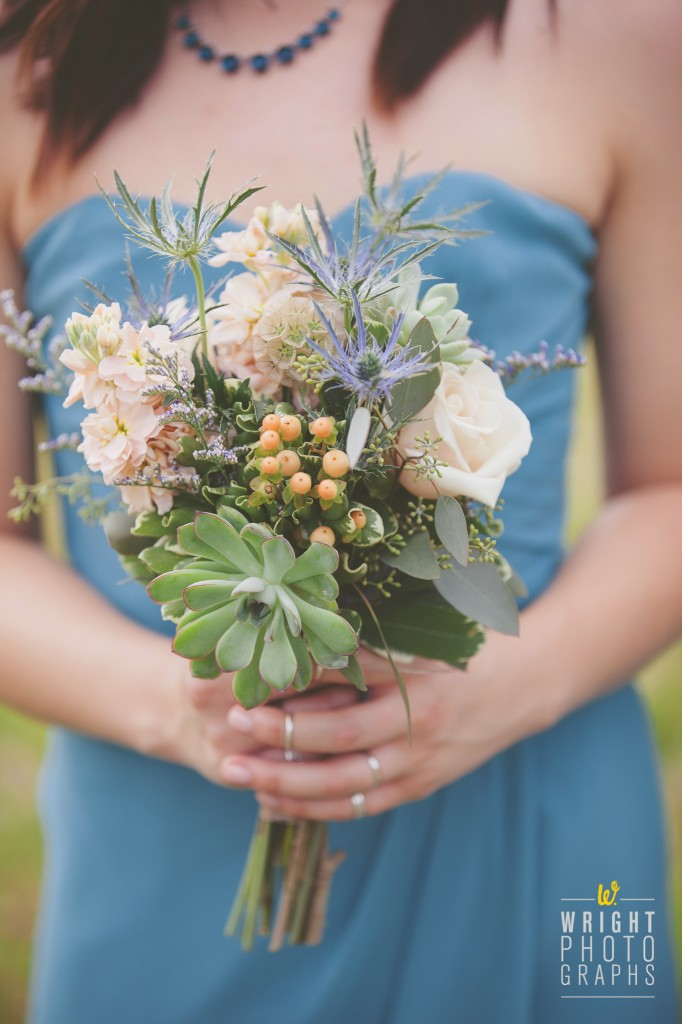 Garden Texture with Muted Colors Bridal Bouquet