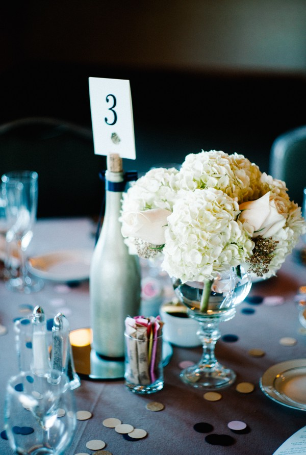 White Hydrangea and Roses Centerpiece