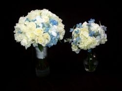 Roses and Hydrangea - White & Pale Blue Handtieds