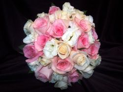 Pink and Ivory Roses with White Lisianthus