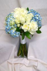 Light blue and white wedding flowers