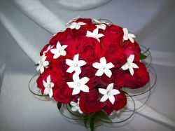 Red Rose and White Stephanotis with Bear Grass