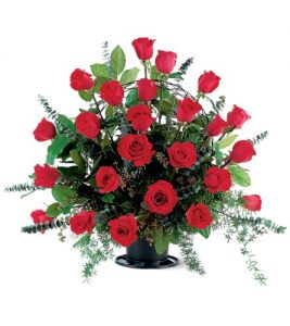 Basket with 24 Red Roses