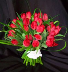 Red Tulip Bridal Bouquet with Lily Grass