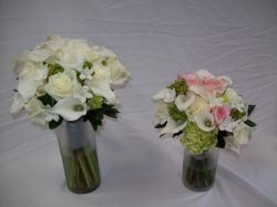 White and Pink Bridal Bouquet Featuring Mini Calla