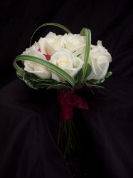 Red Mini Calla and White Rose Wedding Flowers