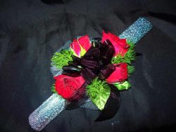 Wrist Corsage with Red Spray Roses