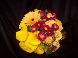 Round Handtied Clustered Bouquet-Hot Pink & Yellow