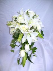 Classic White Cascade with Lilies and Roses