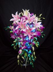 Lily and Dendrobium Orchid Bridal Cascade