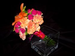 Bridesmaids Bouquet Featuring Orange Lily