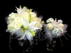 White Lilies and Roses with Feathers and Gems