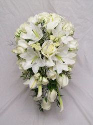 White wedding flowers by Blossom Basket Florist