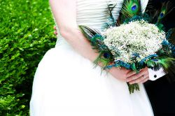 Peacock Feather and Gypsophelea Bouquet