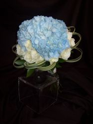 Blue Hydrangea Encircle with White Roses