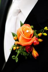 Groom Bloom - Orange Rose, Hypericum, Freesia