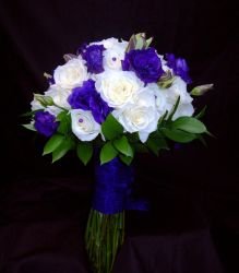 Ivory Roses and Purple Lisianthus Brides Bou