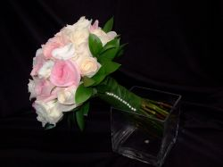 Rose Handtied with Leaf Stem Wrap & Pearl Accent
