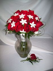 Red Rose and Stephanotis Bouquet and Boutonniere