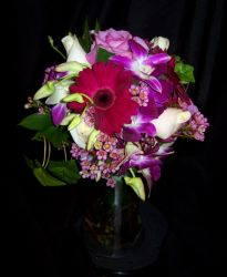 Torch Shaped Bouquet in Shades of Purple