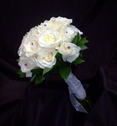 Ivory Roses with Purple Pearl Pins