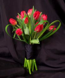 Red Tulip Bridesmaids Bouquet with Lily Grass