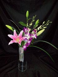 Lily and Orchid Handtied Bridesmaid Bouquet