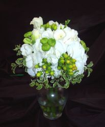 White Hydrangea with Lime greens and Whites